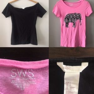 You get both! 2 T-shirts Black and Hot Pink sz SM